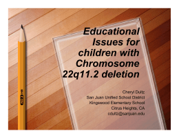 Educational Issues for children with Chromosome