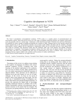 Cognitive development in VCFS