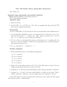 Pries: 405 Number Theory, Spring 2012. Homework 2. Due: Friday 2/3.