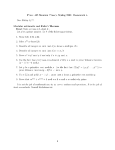 Pries: 405 Number Theory, Spring 2012. Homework 4. Due: Friday 2/17.