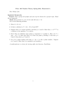 Pries: 405 Number Theory, Spring 2012. Homework 5. Due: Friday 2/24.