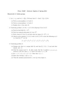 Pries: M467 - Abstract Algebra I, Spring 2011