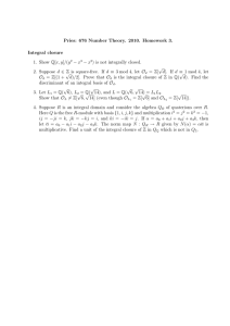 Pries: 676 Number Theory. 2010. Homework 3. Integral closure − x