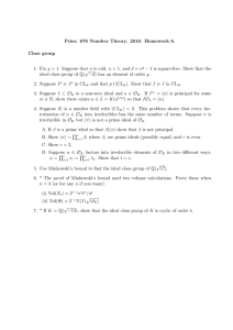 Pries: 676 Number Theory. 2010. Homework 6. Class group