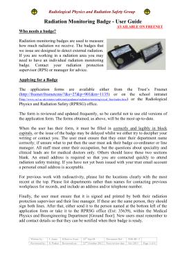 Radiation Monitoring Badge - User Guide