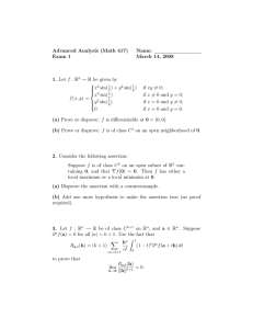 Advanced Analysis (Math 417) Name: Exam 1 March 14, 2008