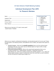 Individual Development Plan (IDP) for Research Mentees