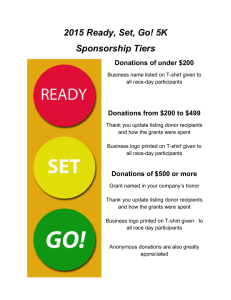 2015 Ready, Set, Go! 5K Sponsorship Tiers Donations of under $200