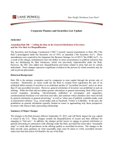 Corporate Finance and Securities Law Update