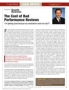 F The Cost of Bad Performance Reviews LEGAL BRIEFS