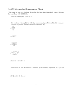 MATH161, Algebra/Trigonometry Check