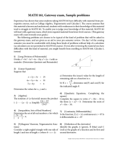 MATH 161, Gateway exam, Sample problems