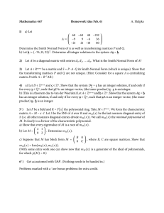 Mathematics 467 Homework (due Feb. 6) 1) A. Hulpke