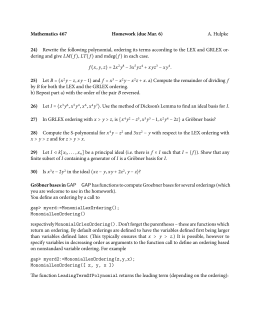 Mathematics 467 Homework (due Mar. 6) 24) A. Hulpke