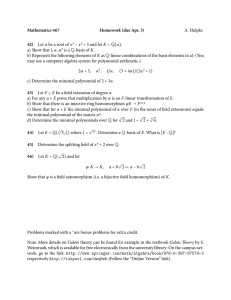 Mathematics 467 Homework (due Apr. 3) 42) A. Hulpke