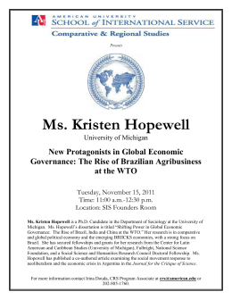 Ms. Kristen Hopewell New Protagonists in Global Economic at the WTO