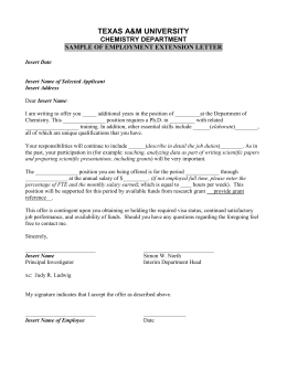 TEXAS A&M UNIVERSITY  CHEMISTRY DEPARTMENT SAMPLE OF EMPLOYMENT EXTENSION LETTER