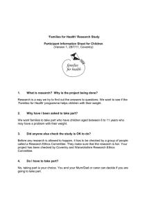 'Families for Health' Research Study (Version 1, 28/7/11, Coventry)
