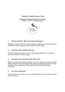 'Families for Health' Research Study (Version 1, 28/7/11, Wolverhampton)
