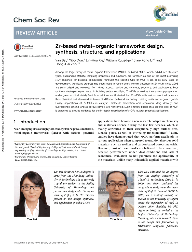 Zr Based Metal Organic Frameworks Design Synthesis Structure And Applications Yan Bai Yibo Dou