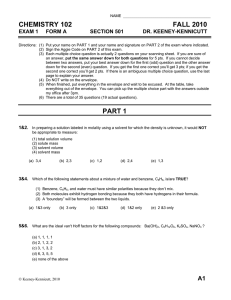 CHEMISTRY 102 FALL 2010 EXAM 1 FORM A
