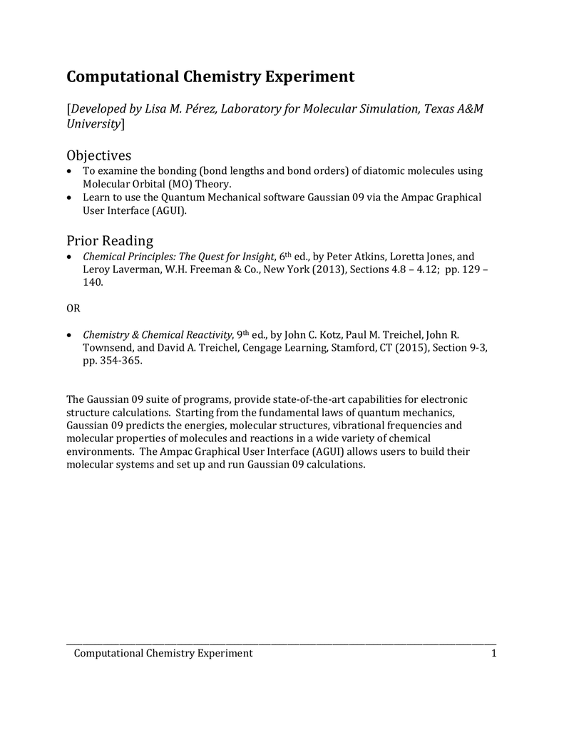 Computational Chemistry Experiment Objectives