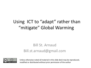 "Using  ICT to ""adapt"" rather than ""mitigate"" Global Warming"