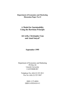 A Model for Sustainability Using the Rawlsian Principle Ali Arifa, Christopher Gan