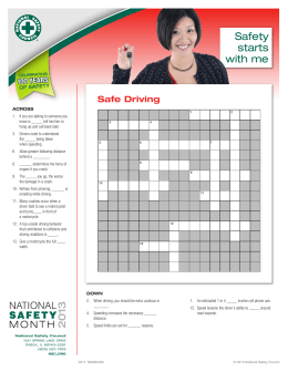 Safety starts with me Driving Safety: