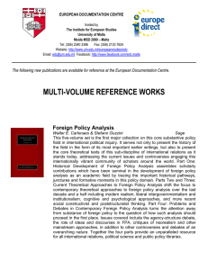 MULTI-VOLUME REFERENCE WORKS  Foreign Policy Analysis
