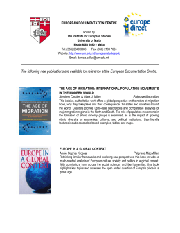 The following new publications are available for reference at the...