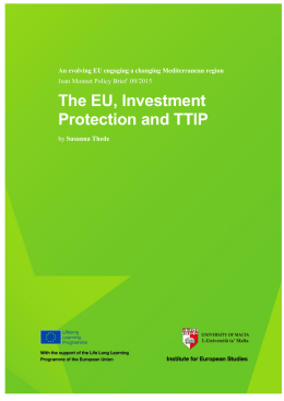 TITLE OF The EU, Investment RESEARCH PAPER Protection and TTIP