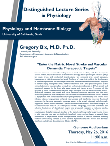 Distinguished Lecture Series in Physiology Gregory Bix, M.D. Ph.D. Physiology and Membrane Biology