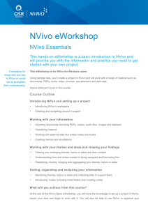 NVivo eWorkshop  NVivo Essentials