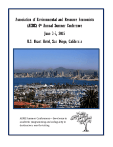 Association of Environmental and Resource Economists (AERE) 4 Annual Summer Conference