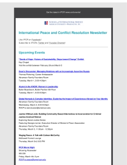 International Peace and Conflict Resolution Newsletter Upcoming Events Facebook Twitter