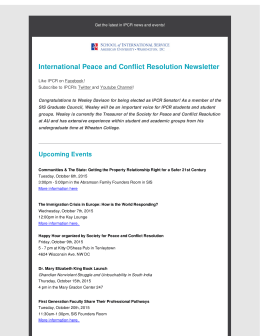 International Peace and Conflict Resolution Newsletter