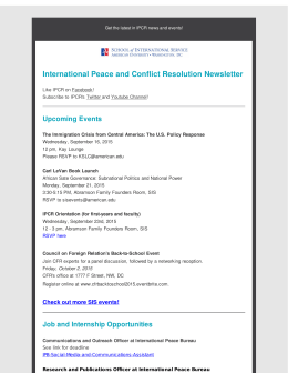 International Peace and Conflict Resolution Newsletter Upcoming Events
