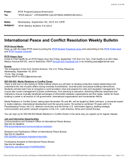 From: To: Date: IPCR Program/peace/AmericanU