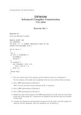 DF00100 Advanced Compiler Construction VT1/2010 Exercise Set 1
