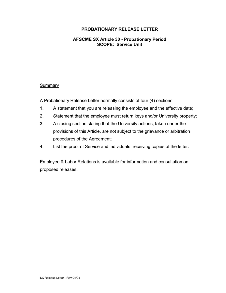 PROBATIONARY RELEASE LETTER AFSCME SX Article 30 Probationary Period
