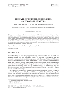 THE FATE OF DISPUTED TERRITORIES: AN ECONOMIC ANALYSIS Defence and Peace Economics