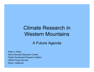 Climate Research in Western Mountains A Future Agenda