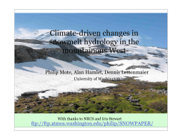 Climate-driven changes in snowmelt hydrology in the mountainous West