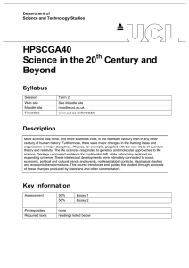 HPSCGA40 Science in the 20 Century and Beyond