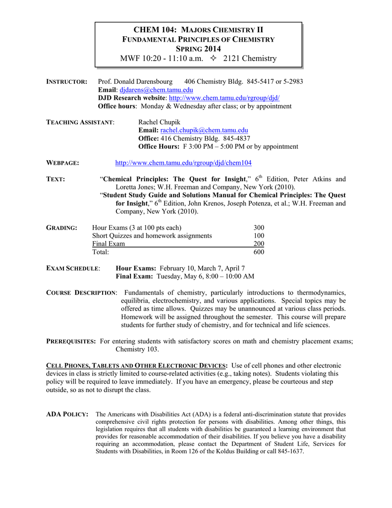 Chemistry Second Semester Final Exam Answers