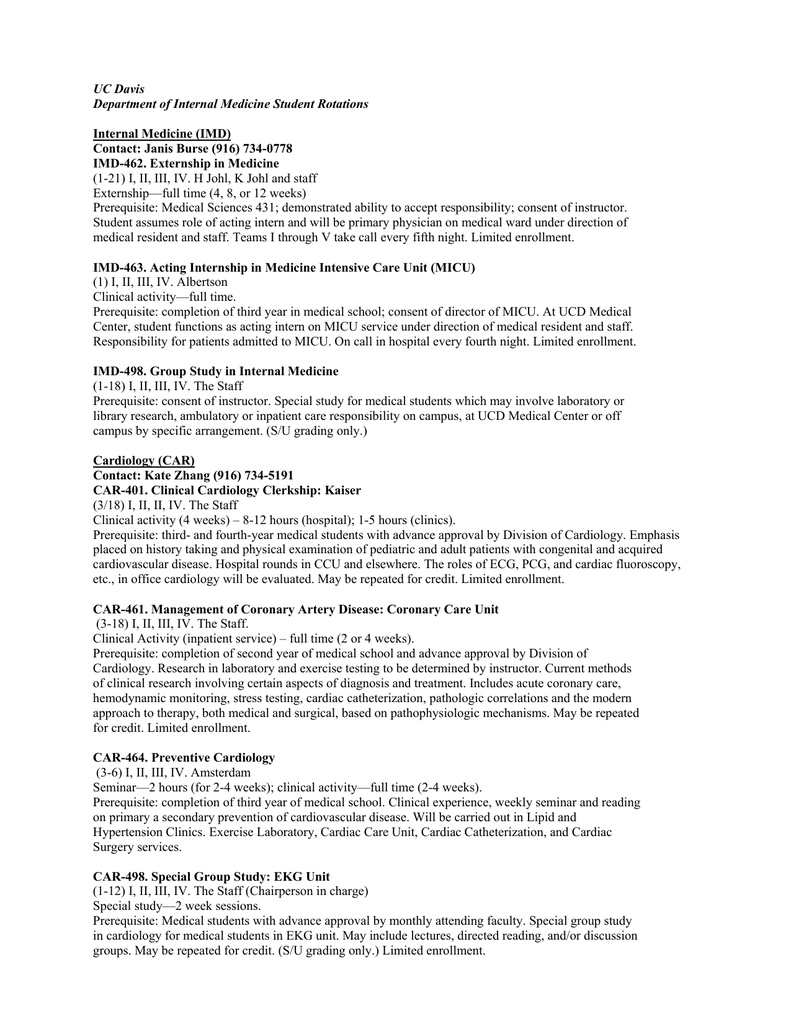 UC Davis Department of Internal Medicine Student Rotations