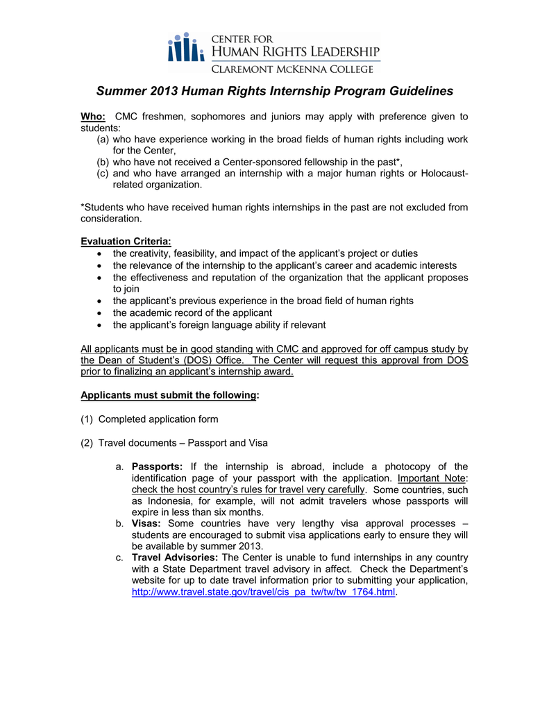 Summer 2013 Human Rights Internship Program Guidelines