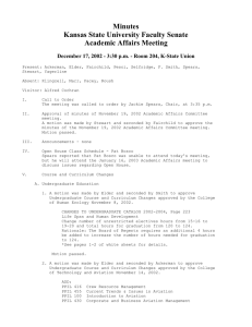 Minutes Kansas State University Faculty Senate Academic Affairs Meeting