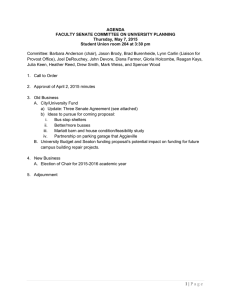 AGENDA FACULTY SENATE COMMITTEE ON UNIVERSITY PLANNING Thursday, May 7, 2015